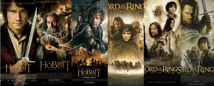 The Hobbit and The Lord of the Rings trilogies (posters)