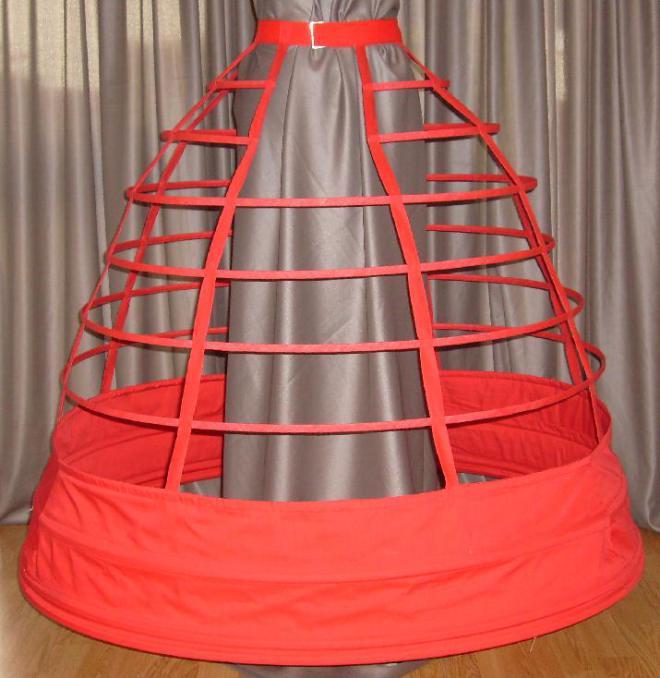 Steel-cage crinoline circa 1858.